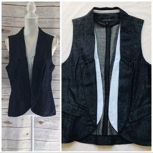 LAFAYETTE 148 New York Dark Washed Denim Suit Vest